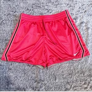 Nike Dry Fit Red & Black Striped Drawstring Shorts